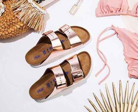 Image of pink metallic birkenstock sandals