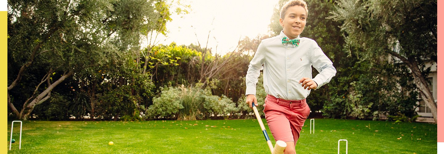 image of boy playing croquet. image links to all boys easter clothes.