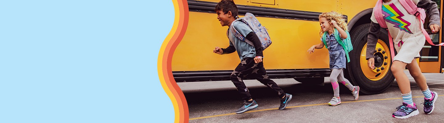 Image of Kids' Running Off Bus. Image links to Back to School page.