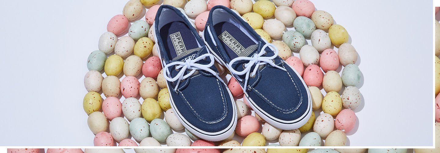Image of Boys Sperry blue boat shoes. image links to all boys easter shoes.