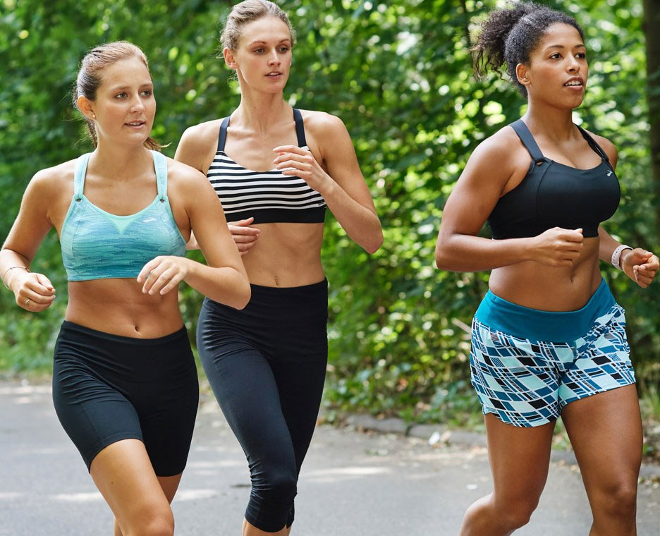 Image of a three women running in Brooks shoes.