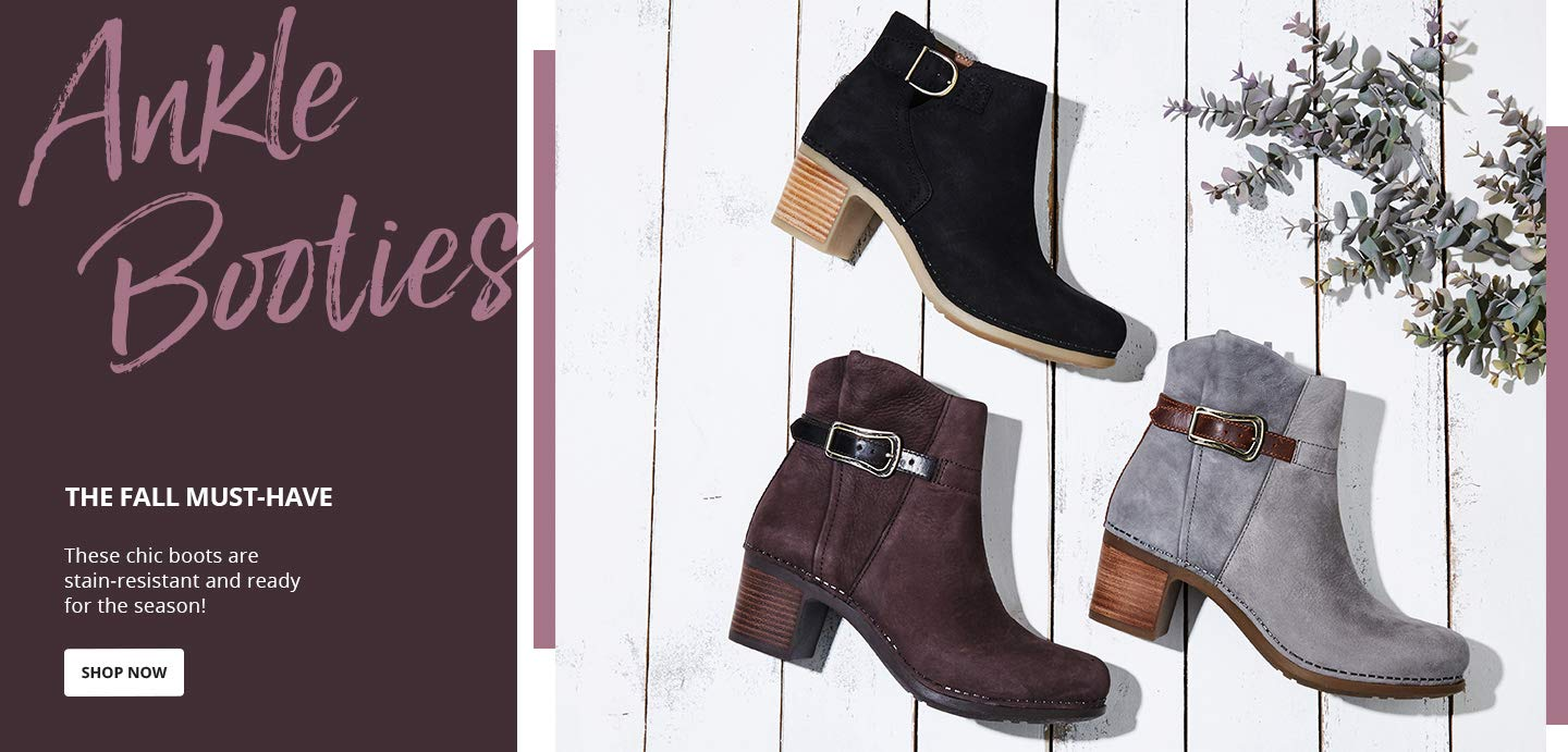 Ankle Booties, the fall must-have.These chic boots are stain-resistant and ready for the season! Shop Now.