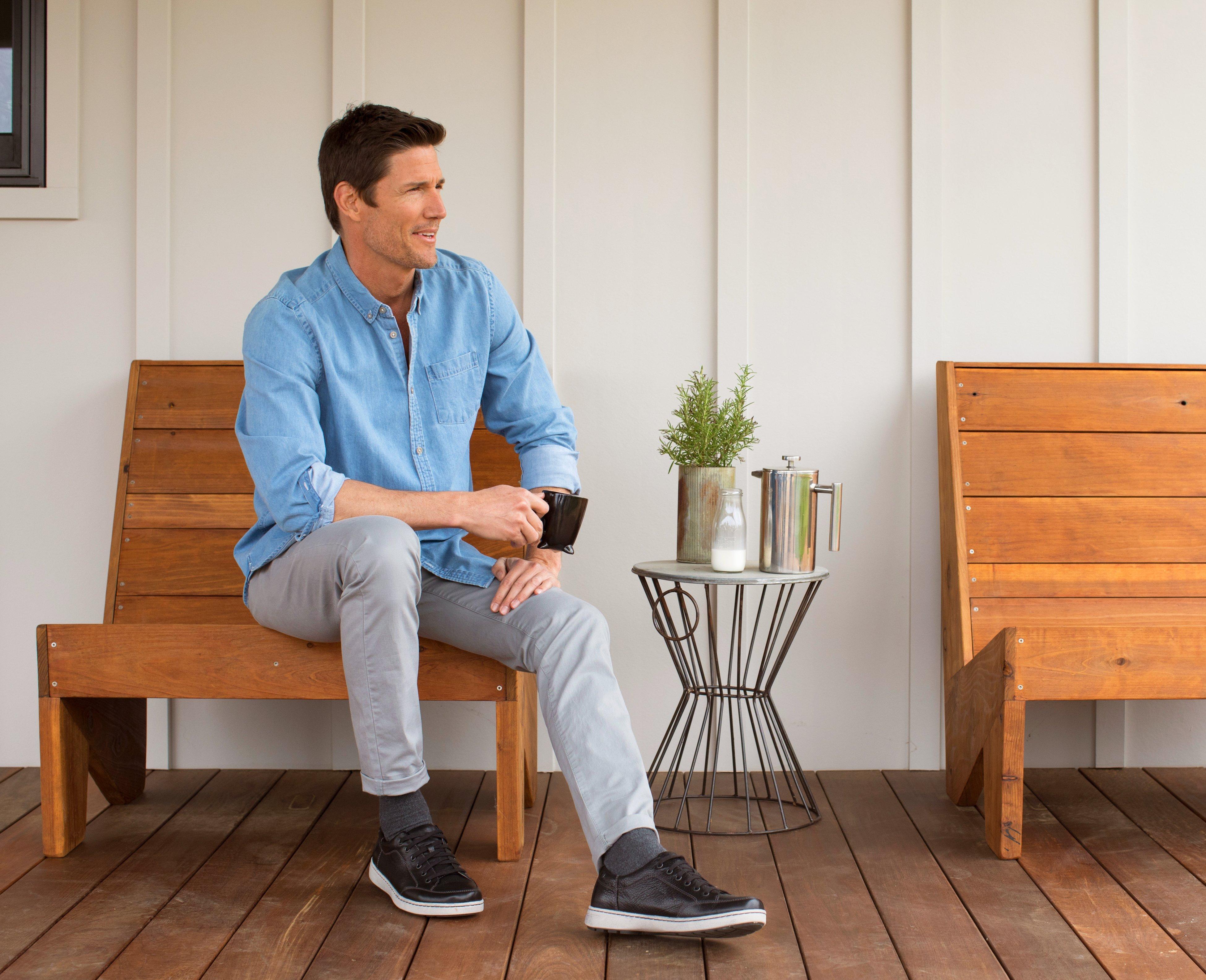 Clickable Image of a man sitting down wearing Dansko Sneakers