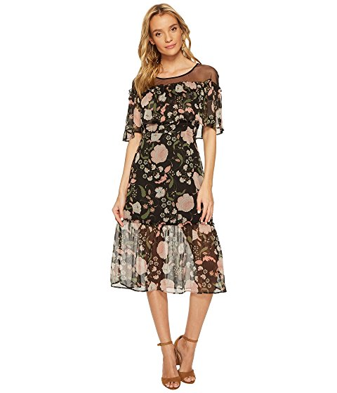 Image of women's black floral mesh dress. Image links to all women's floral print dresses.