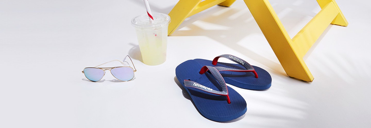 Images links to Havaianas sandals for boys.