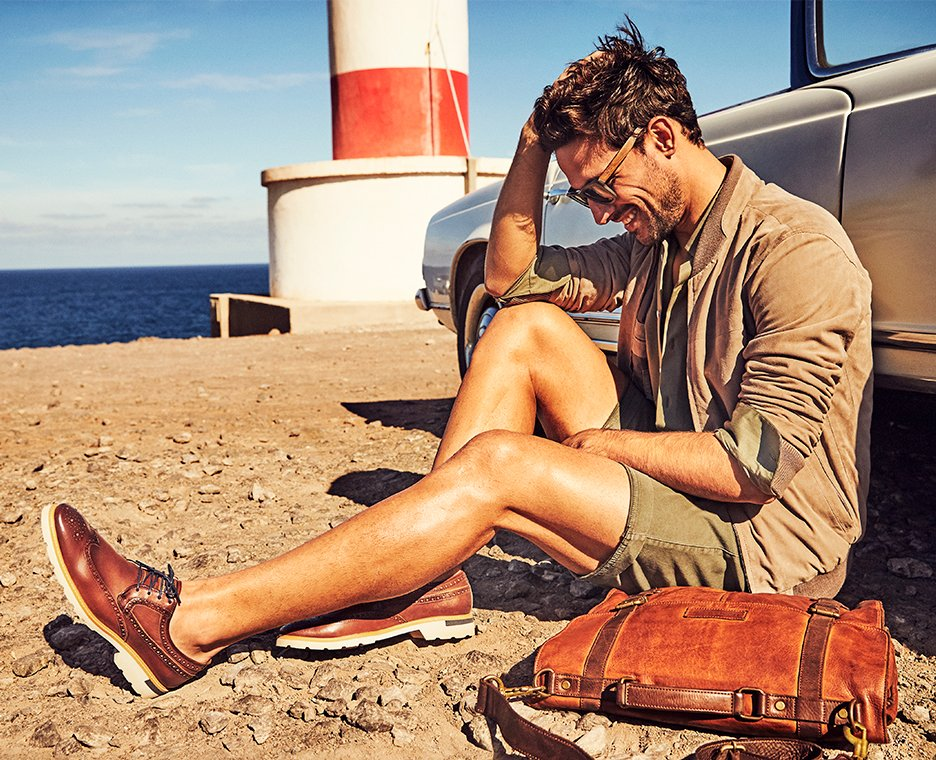 Man wearing Pikolino shoes.