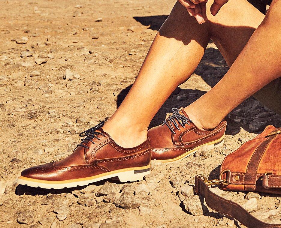 Close-up image of man wearing pikolino shoes.