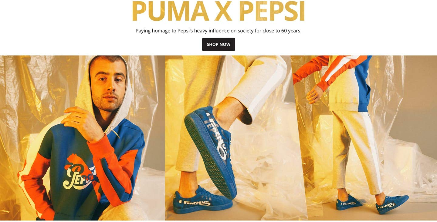 Puma X Pepsi. Paying homage to Pepsi's heavy influence on society for close to 60 years. Shop Now.