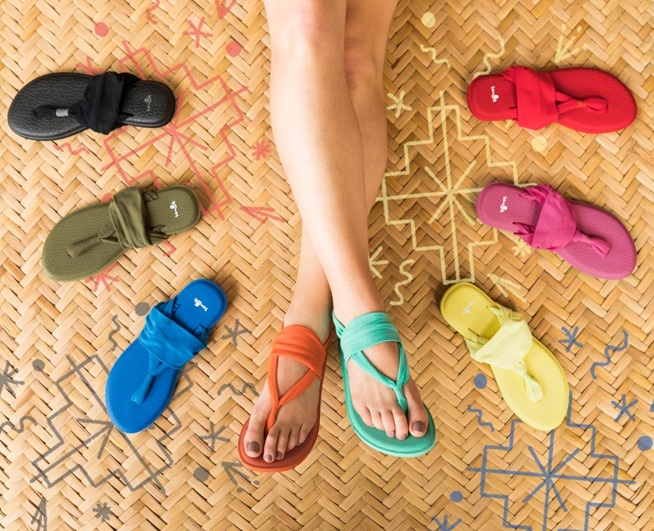 Image of Sanuk sandals in sand