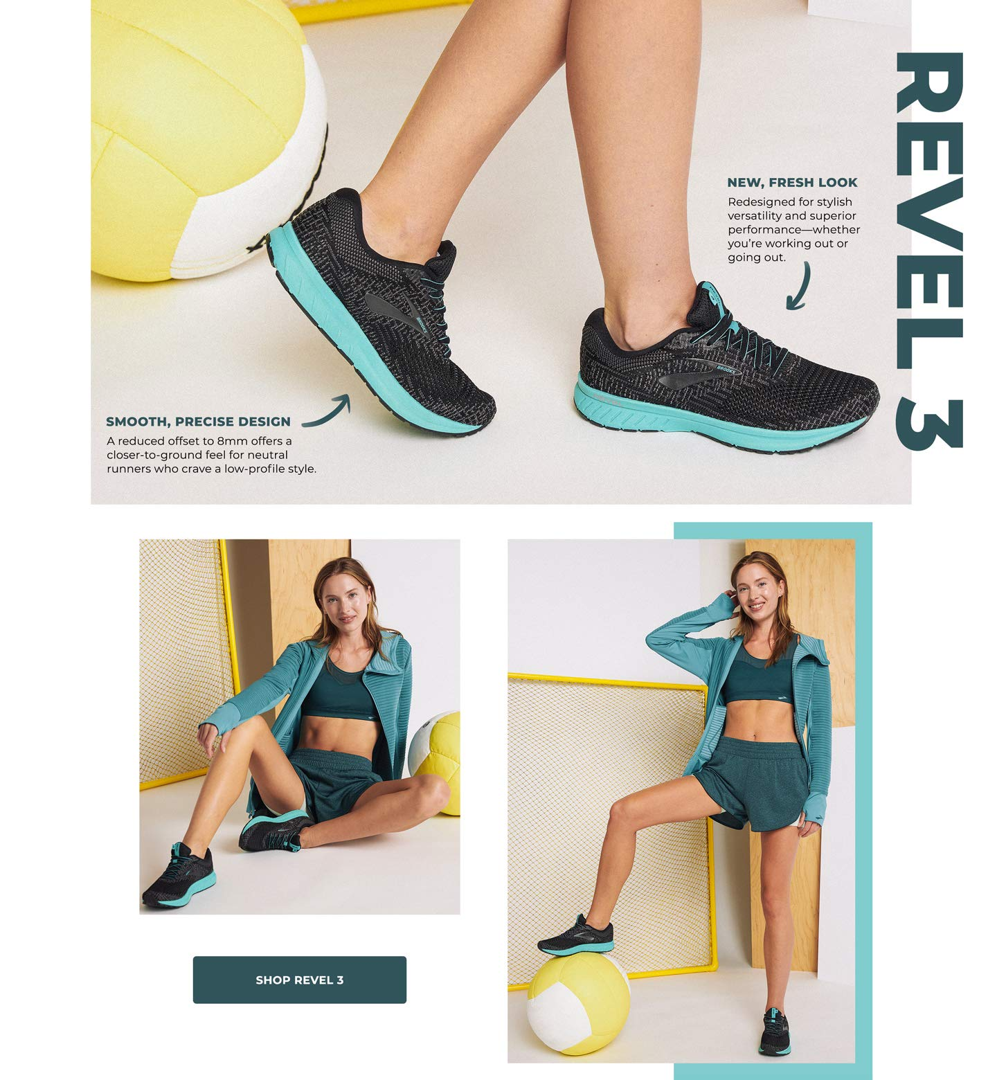 REVEL 3. New, Fresh Look. Redesigned for stylish versatility and superior performance—whether you're working out or going out. Smooth, Precise Design. A reduced offset to 8mm offers a closer-to-ground feel for neutral runners who crave a low-profile style. Shop REVEL 3.