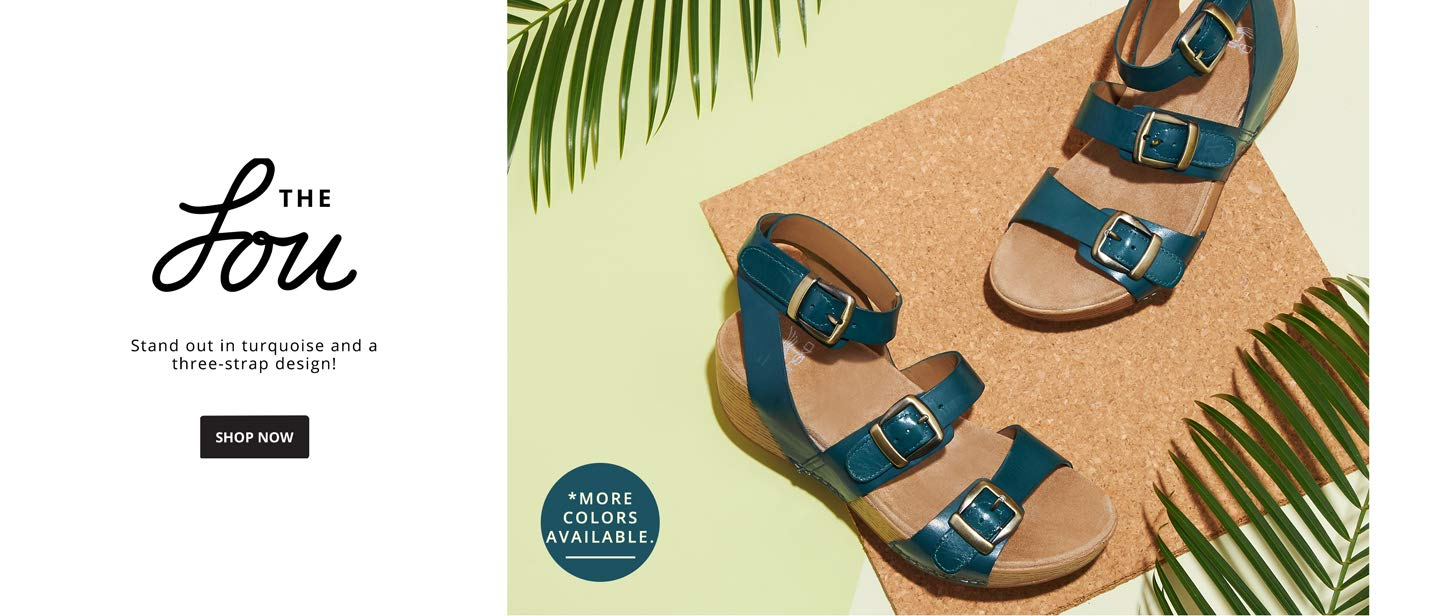 THE LOU. Stand out in turquoise and a three-strap design! SHOP NOW