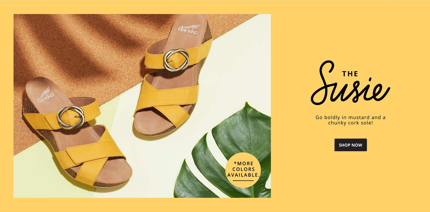 THE SUSIE. Go boldly in mustard and a chunky cork sole! Shop Now.