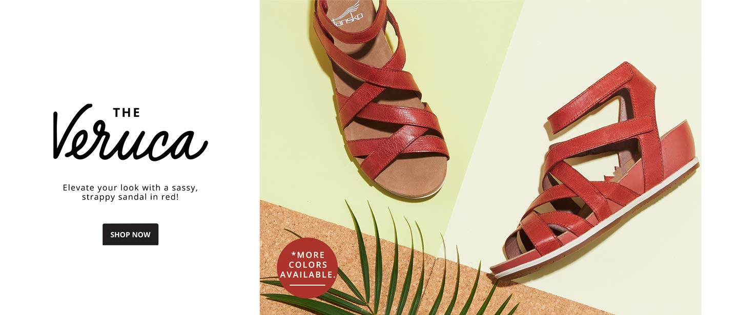 THE VERUCA. Elevate your look with a sassy, strappy sandal in red! Shop Now.