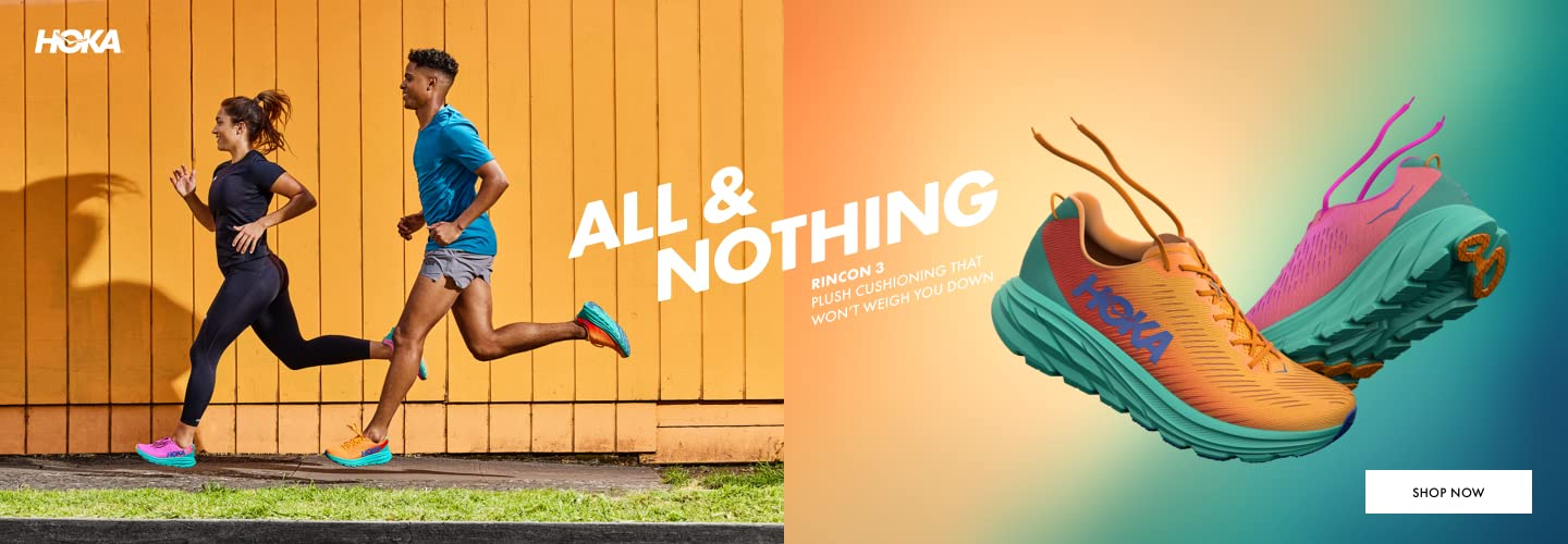 HOKA ONE ONE®. All of nothing. Rincon 3. Plush cushioning that won't weigh you down. Shop Now.