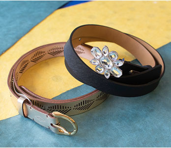 Jeweled Black Belt And Tan Belt
