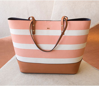 Cole Haan White And Peach Striped Tote