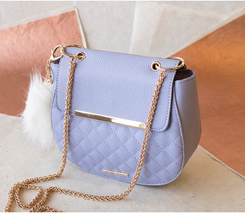 Blue Shoulder Bag With Gold Chain