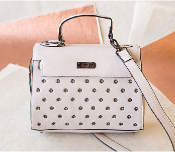 Cream Colored Satchel With Studs