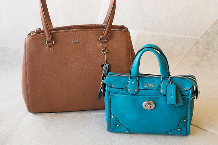 COACH Tan And Blue Leather Handbags