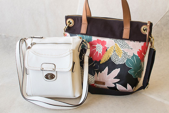White Casual Crossbody Bag And Floral Fossil Handbag
