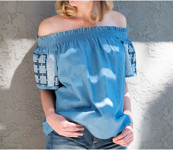 Blue Off-the-Shoulder Top