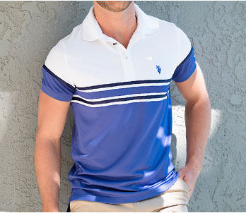 Blue And White U.S. Polo Assn. Men's Polo Shirt