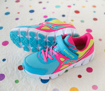 Girls' Bright Blue And Pink Sneakers