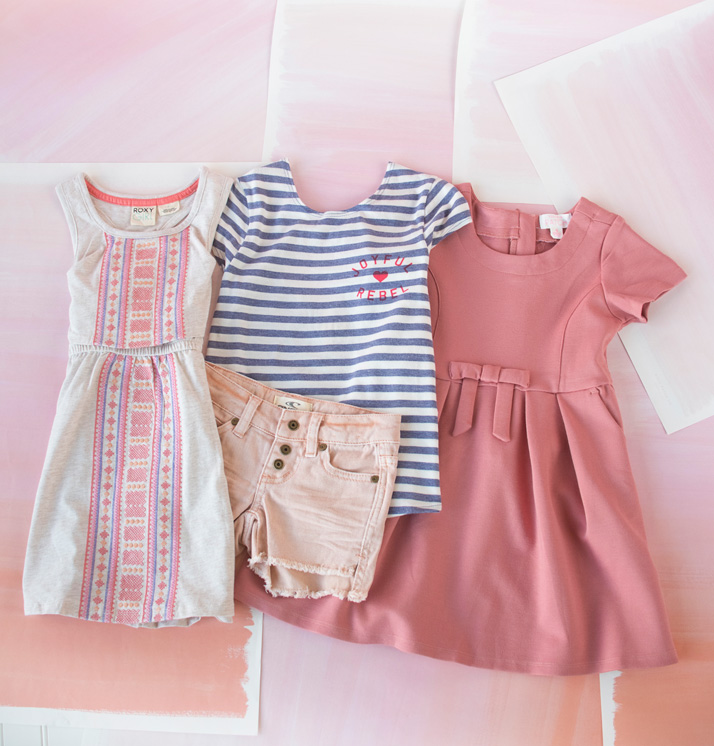 Girls' Spring And Summer Shorts, Tops And Pink Dress