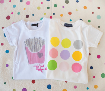 Girls' White T-Shirts With Bright Patterns