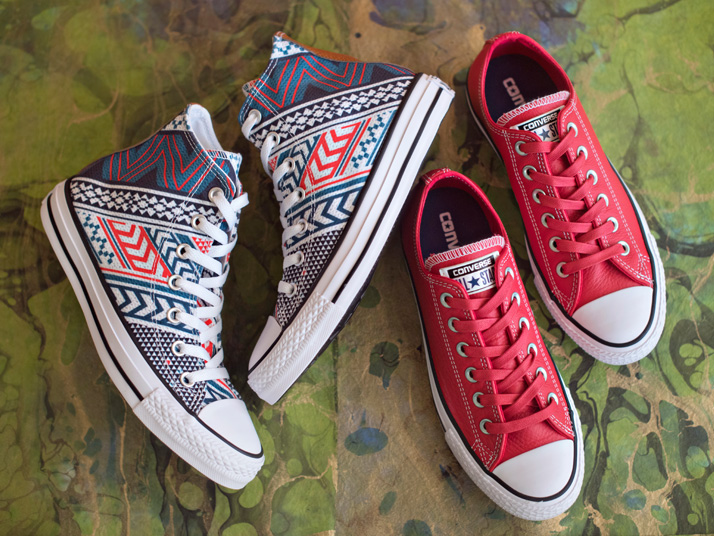 Red Men's Converse Sneakers And Print Men's Converse Sneakers