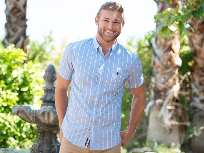 Men's Button-Up Light Blue Striped Casual Shirt and Khaki Jeans