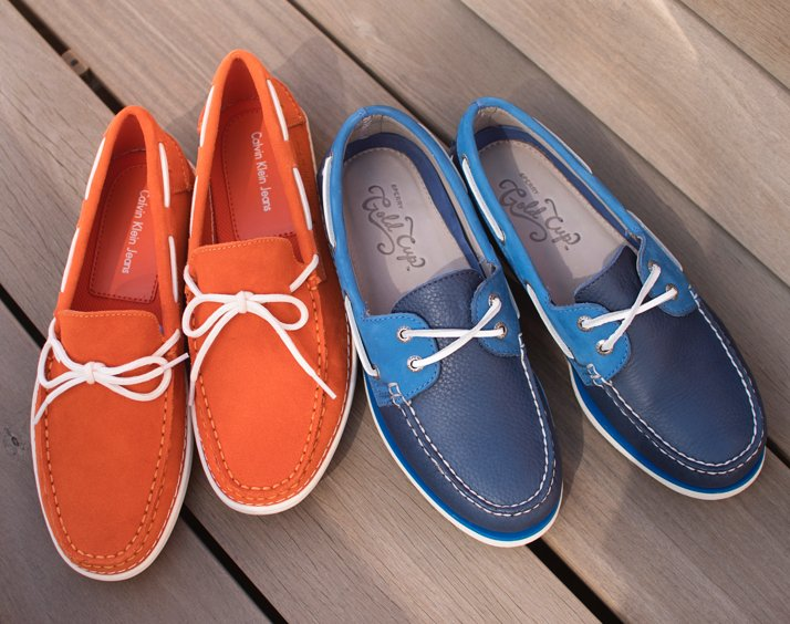 Orange And Blue Men's Boat Shoes