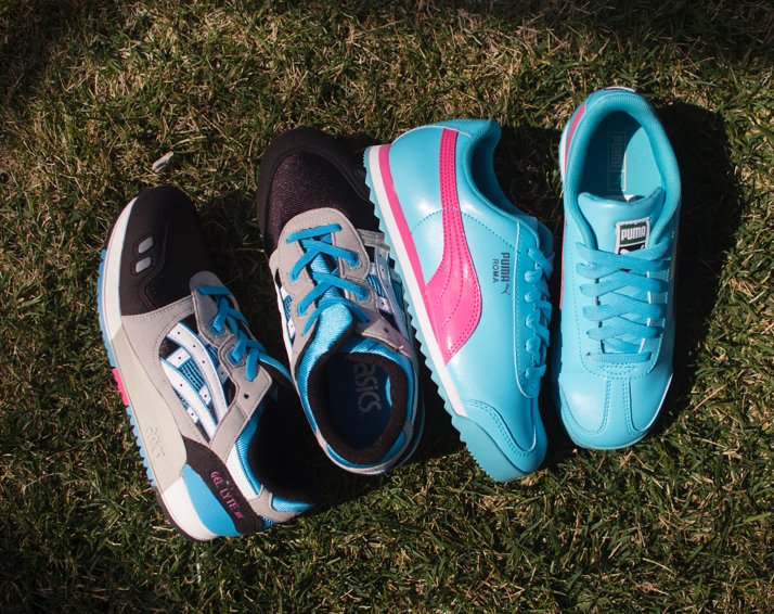 Girls Puma Sneakers And Boys ASICS Sneakers