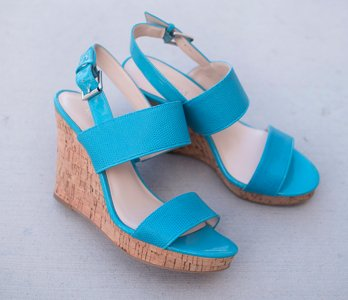 Blue Nine West Cork Wedges