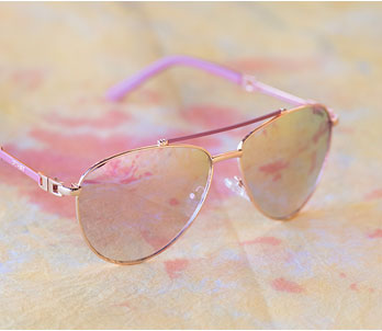 Gold And Pink Aviator Frames