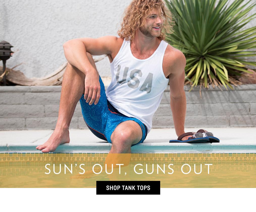 Men's Swim Trends - Sun's Out, Guns Out
