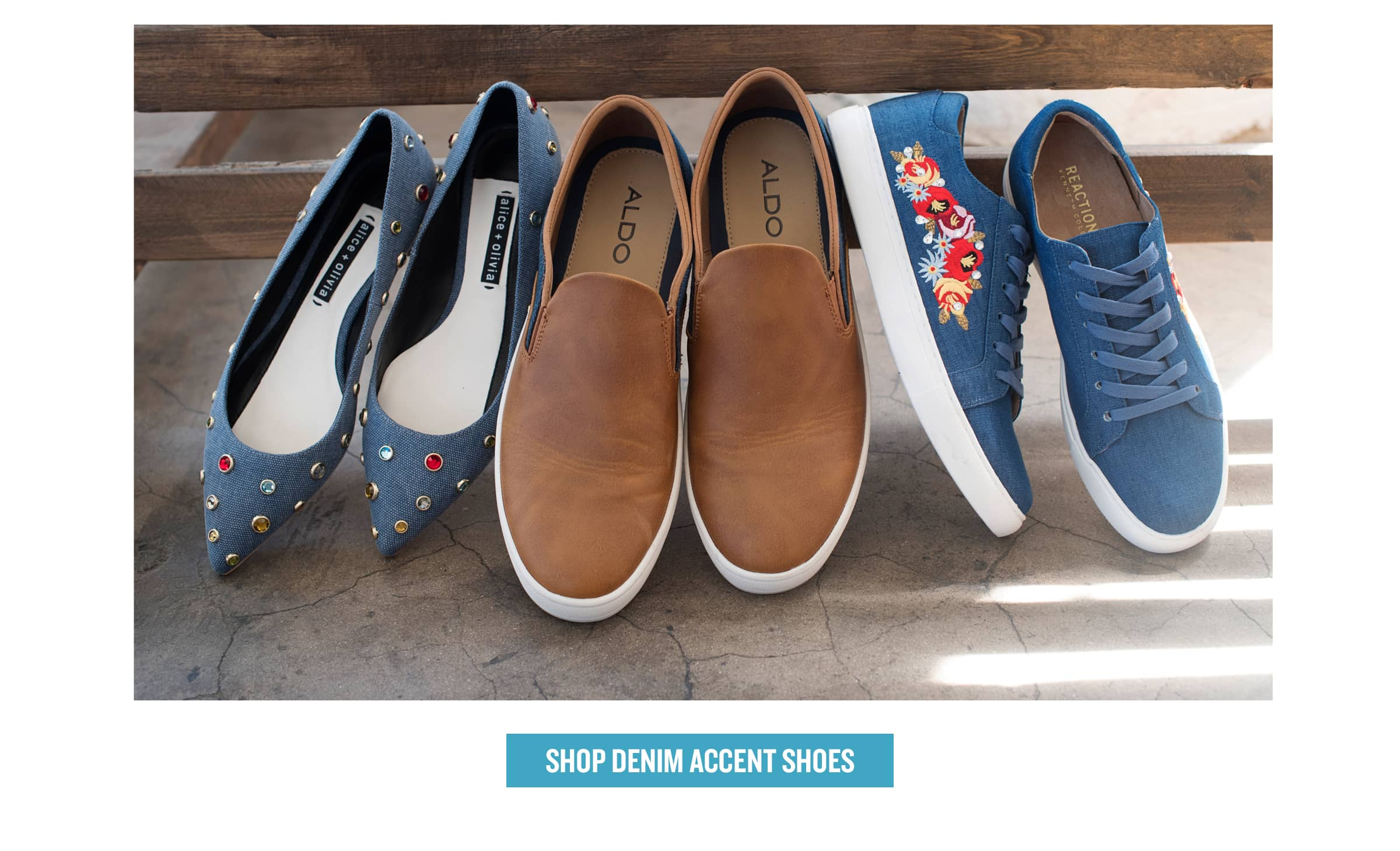 Shoes with denim accents