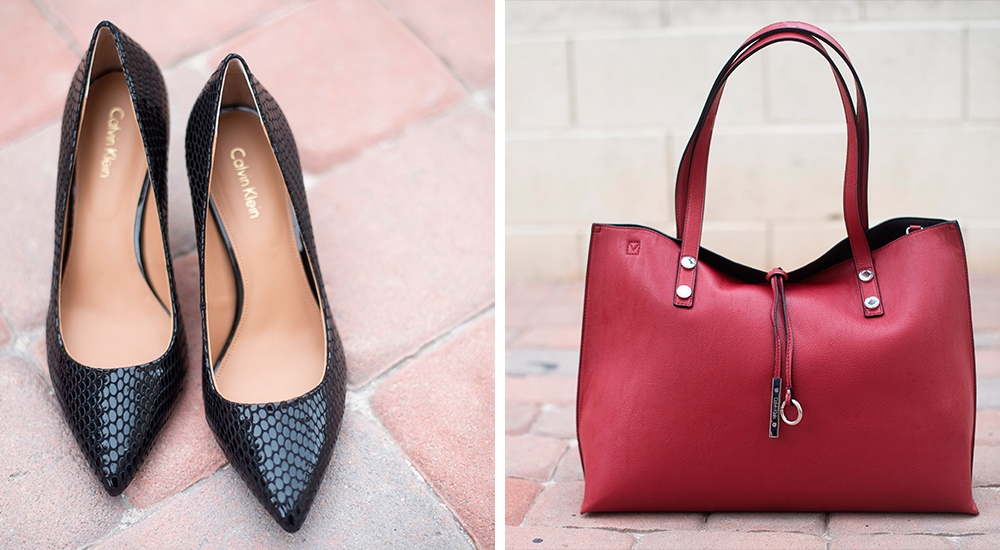 A 1/20 - Red Calvin Klein Handbag And Black Calvin Klein Heels