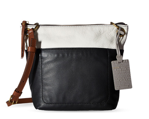 B 2/17 - Fossil Black And White Leather Bag