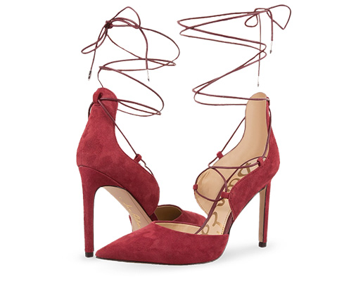 B 2/17 - Sam Edelman Lace Up Red Suede Heels