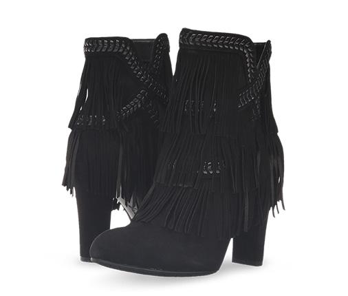 B 2/24 - Sam Edelman Black Fringe Suede Fashion Boots