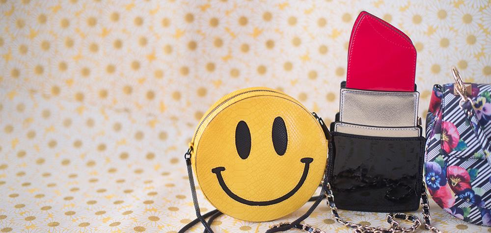 A 2/24 - Smiley Face Handbag And Lipstick Handbag