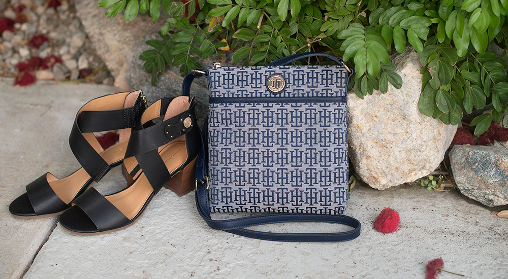 A 3/24 - Tommy Hilfiger Navy And White Crossbody Bag And Black Sandals