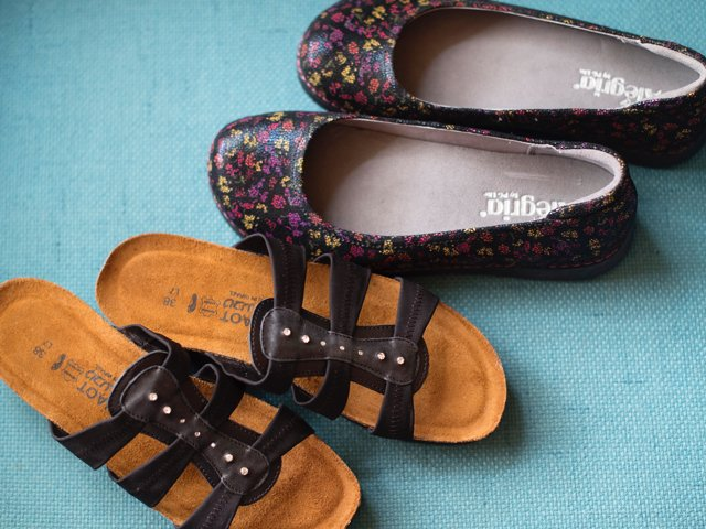 A 3/27 - Black Slide-On Naot Sandals And Alegria Flats