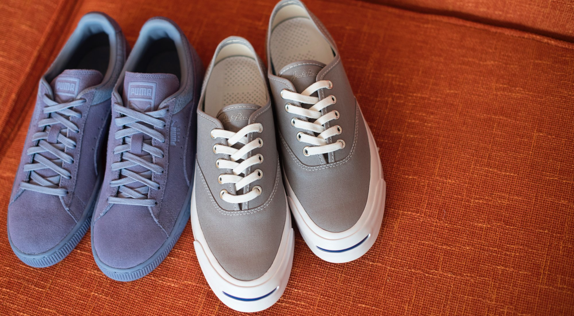A 3/27 - PUMA Blue Suede Street Sneaks And Grey Sneakers