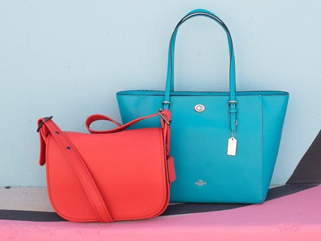 A 4/24 - COACH Turquoise Tote Handbag