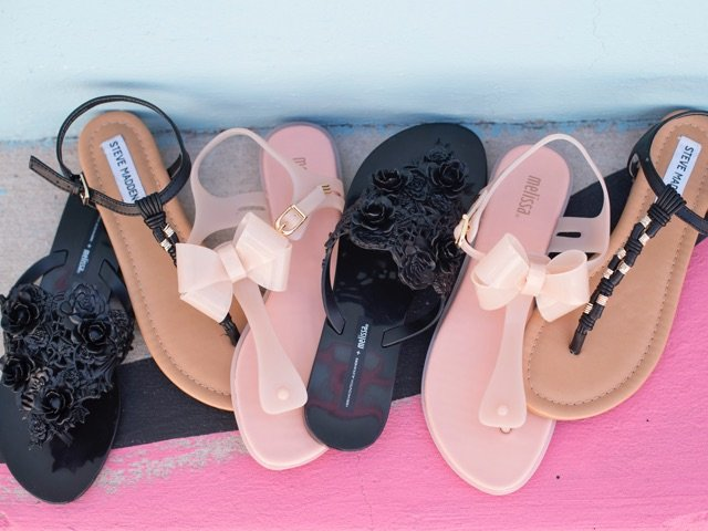 A 4/24 - Melissa Shoes Flat Sandals With Bow