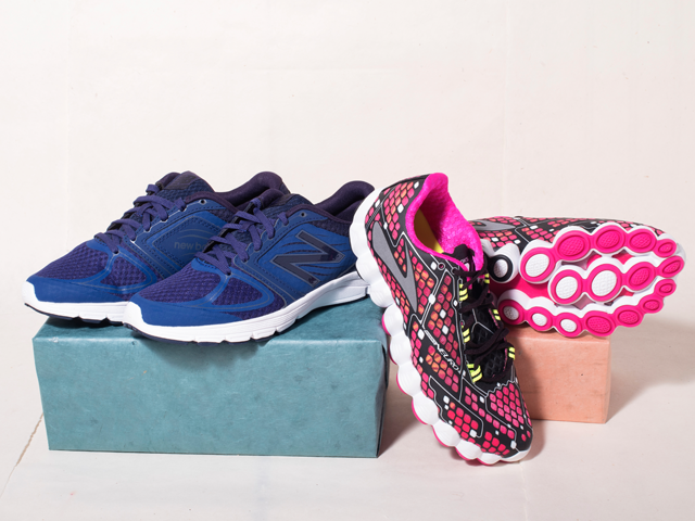 A 5/22 - Brooks Pink Sneakers And New Balance Blue Sneakers