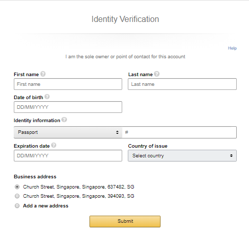 Amazon Seller Account Registration - Enter Information