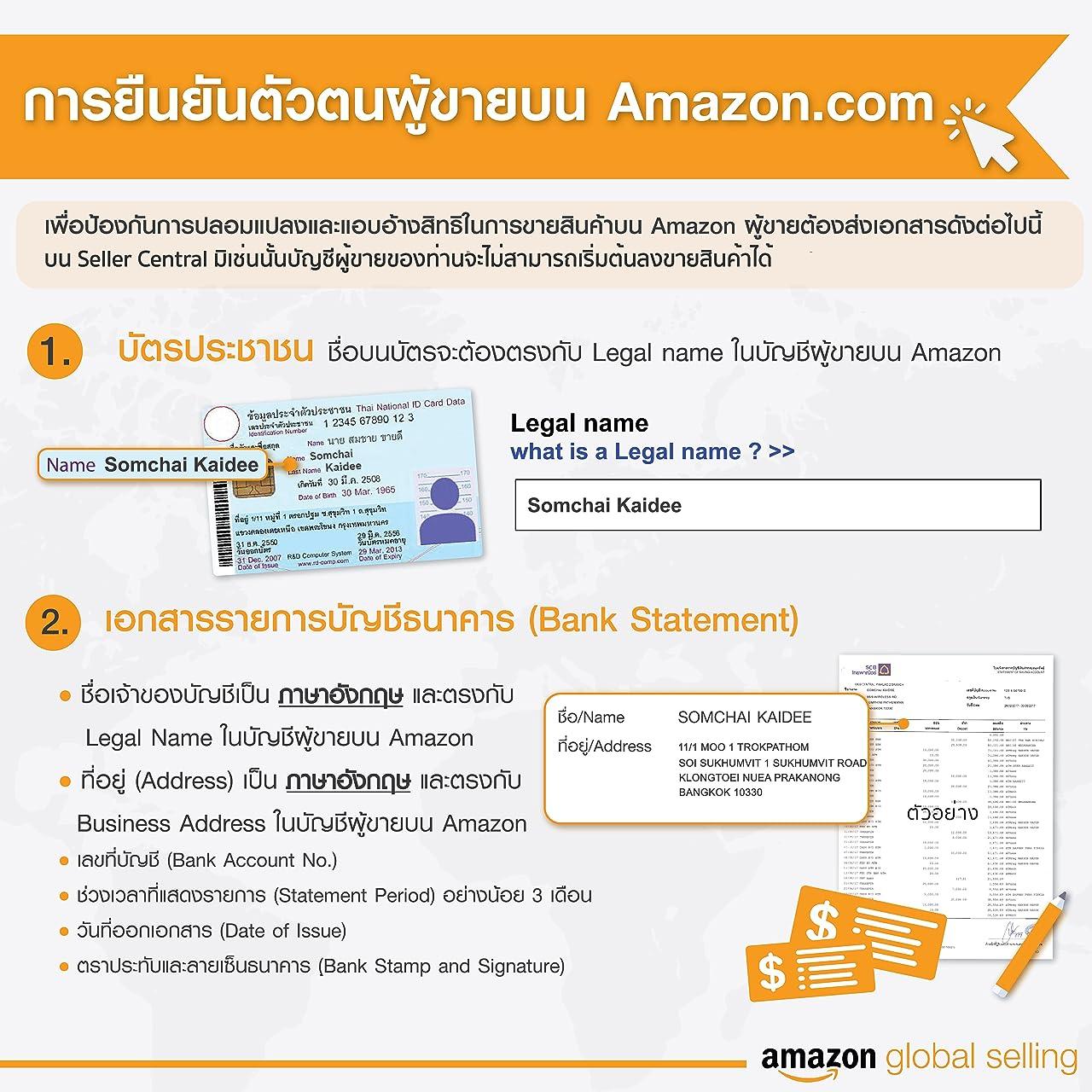 เอกสารสำหรับยืนยันตัวตนตามข้อมูลของ Amazon Global Selling